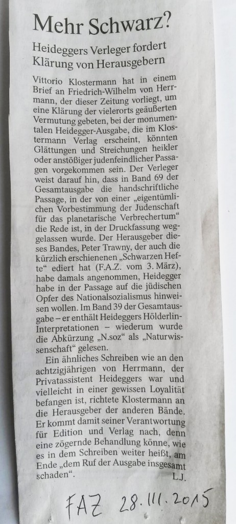 FAZ - Mehr Schwarz - Heidegger