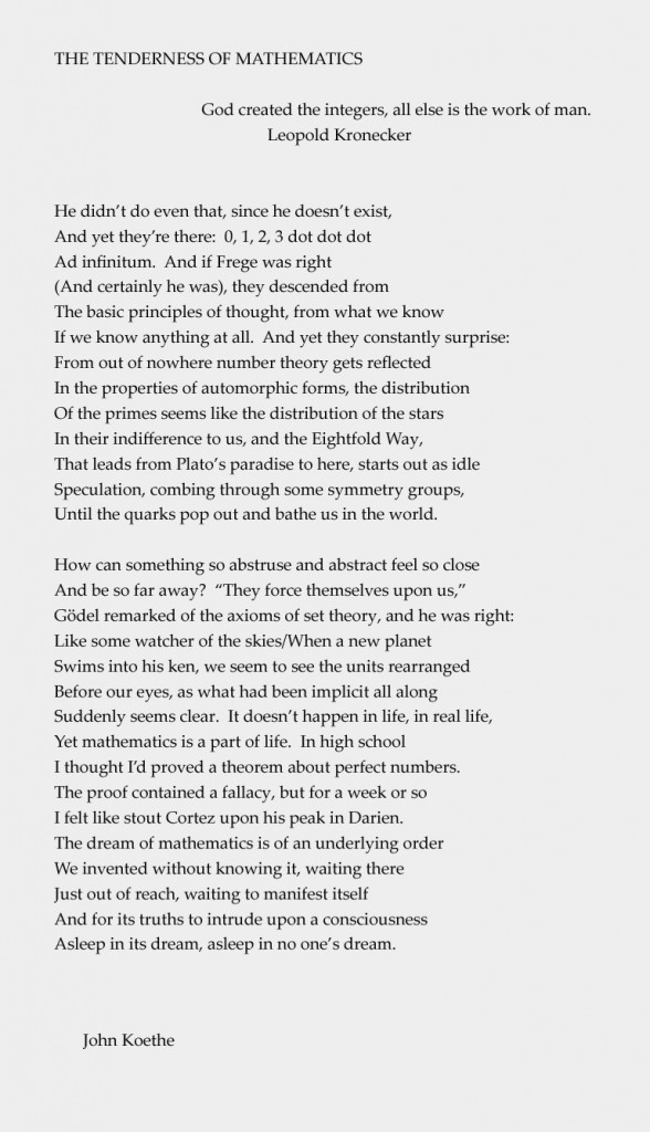 Koethe - Tenderness of Mathematics
