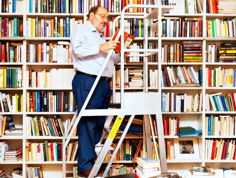 Umberto Eco with books
