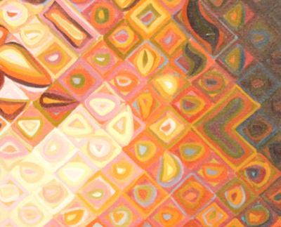 (detail of portrait of Kara Walker by Chuck Close)
