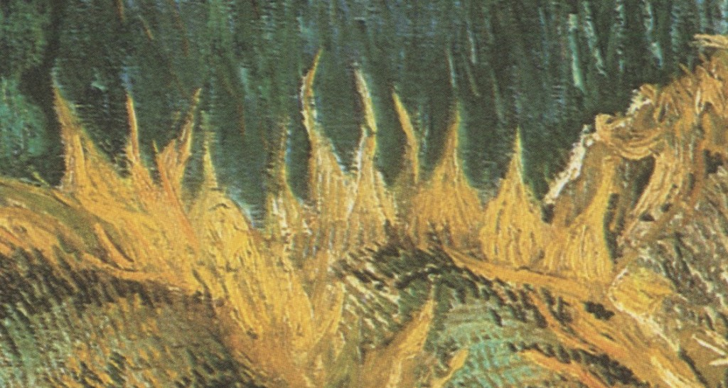 "(Vincent Van Gogh, detail of ""Four Cut Sunflowers"")"