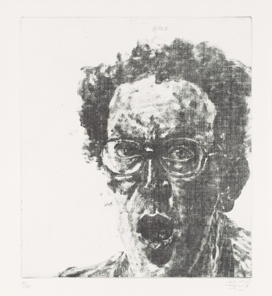 "Avigdor Arikha, ""Self-Portrait with Open Mouth"""
