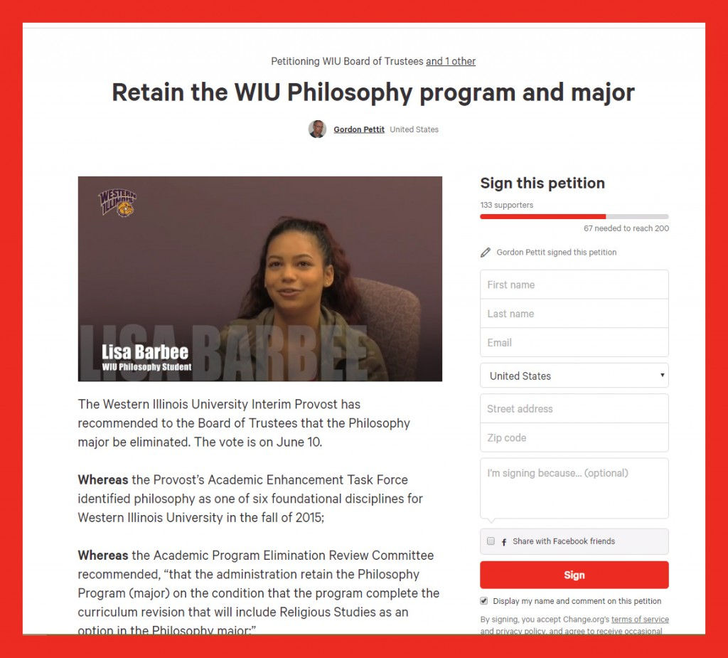 WIU program elimination petition