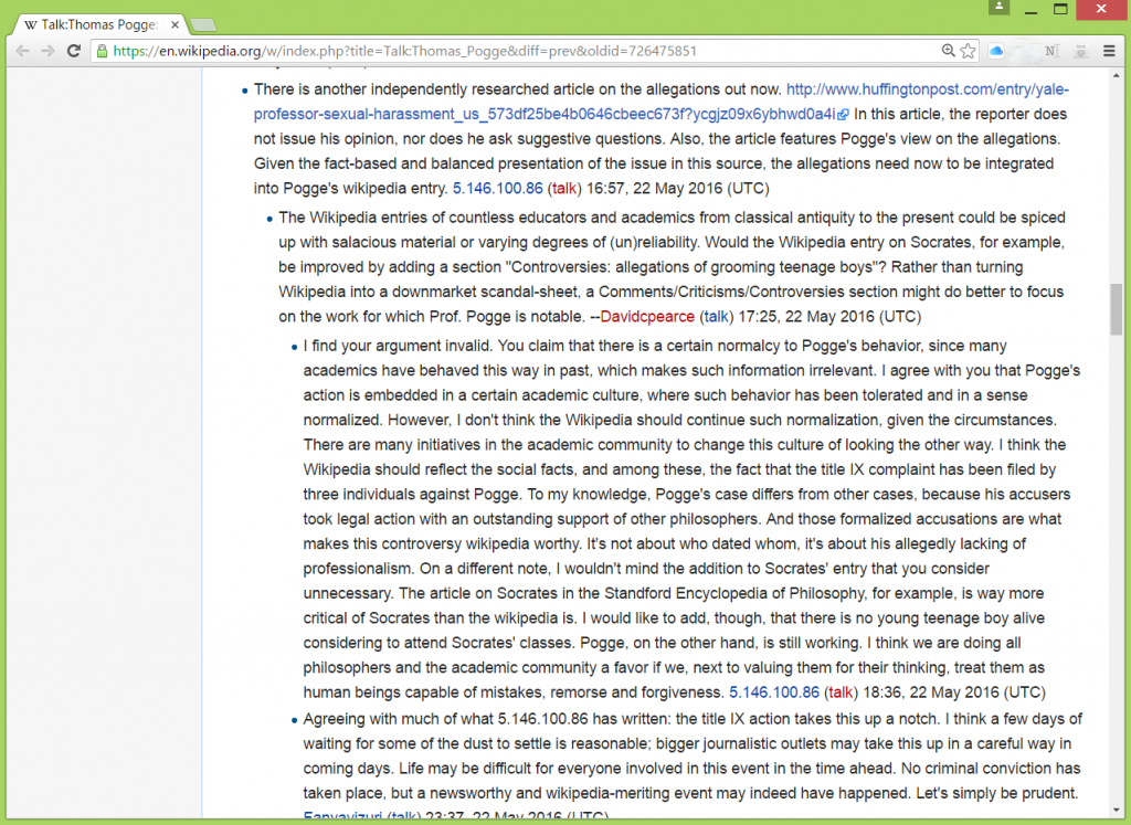 Pogge wikipedia talk screenshot