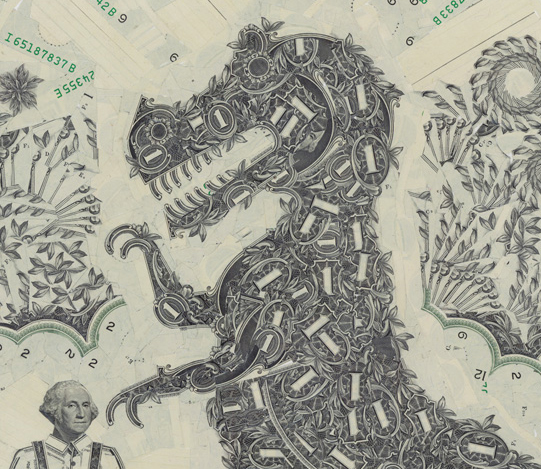 Collage of dollar bills (detail) by Mark Wagner