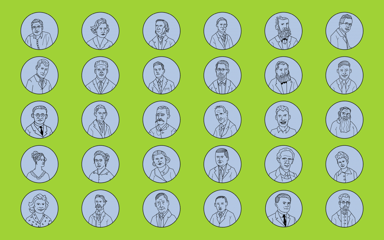Logicians Line Art Portraits green background