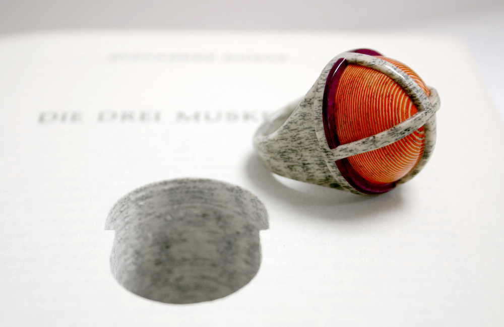 Jeremy May, ring made from the pages of a book