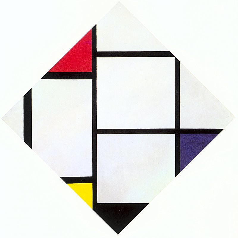 "Piet Mondrian, ""Lozenge Composition with Red, Gray, Blue, Yellow, and Black"""