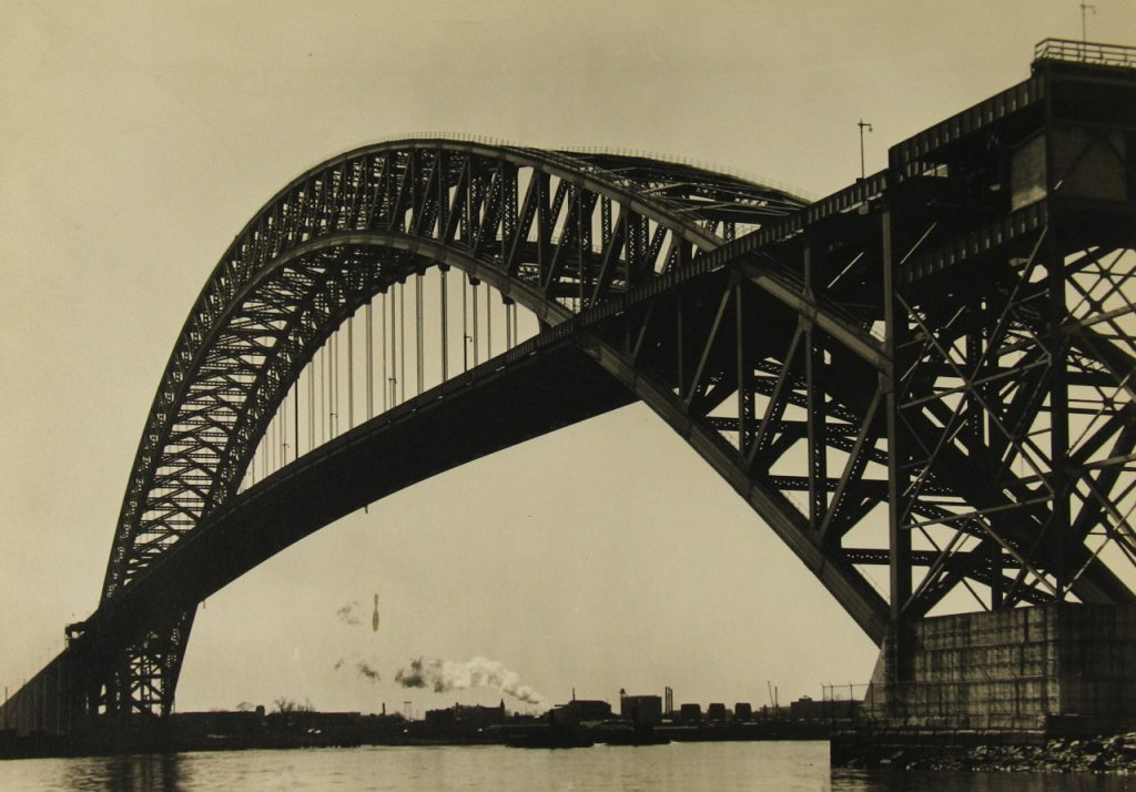 "Margaret Bourke-White, ""View of the Bayonne Bridge and the Port of New York"""