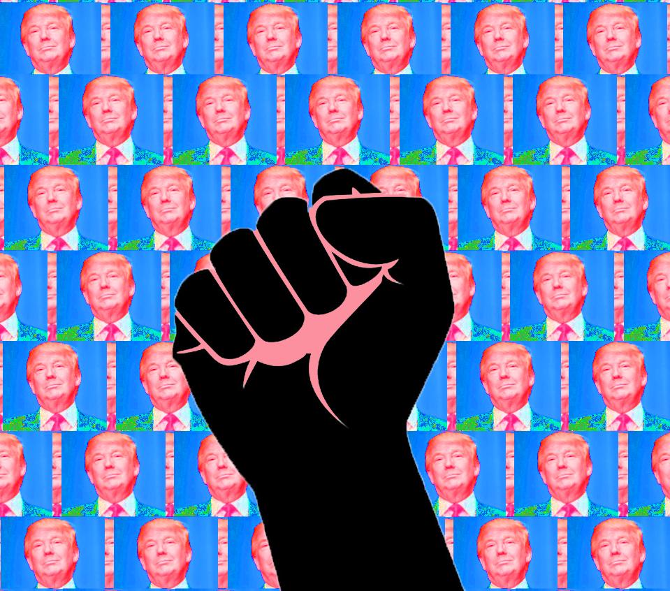 trump-wall-of-trumps-raised-fist-2