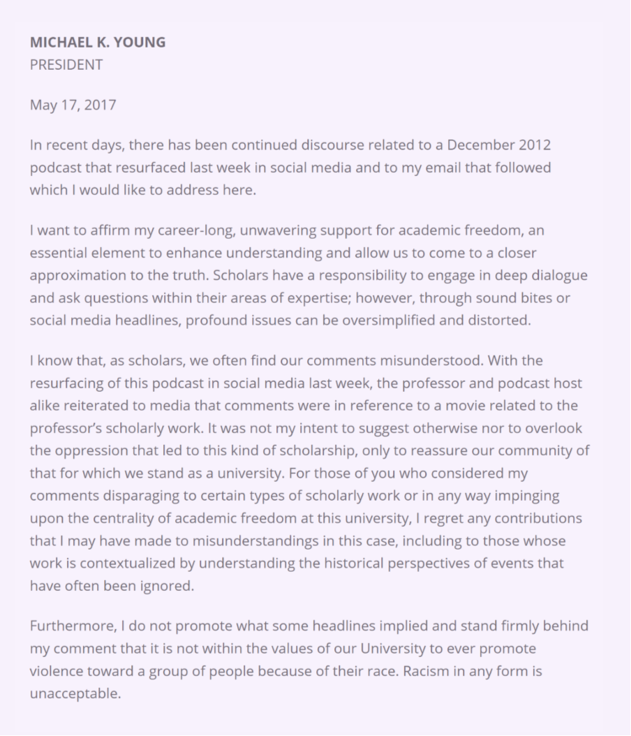 Texas am president regrets contributions to misunderstandings now after a week of loud objections from the academic community including an open letter of support president young has issued a new statement about spiritdancerdesigns Gallery