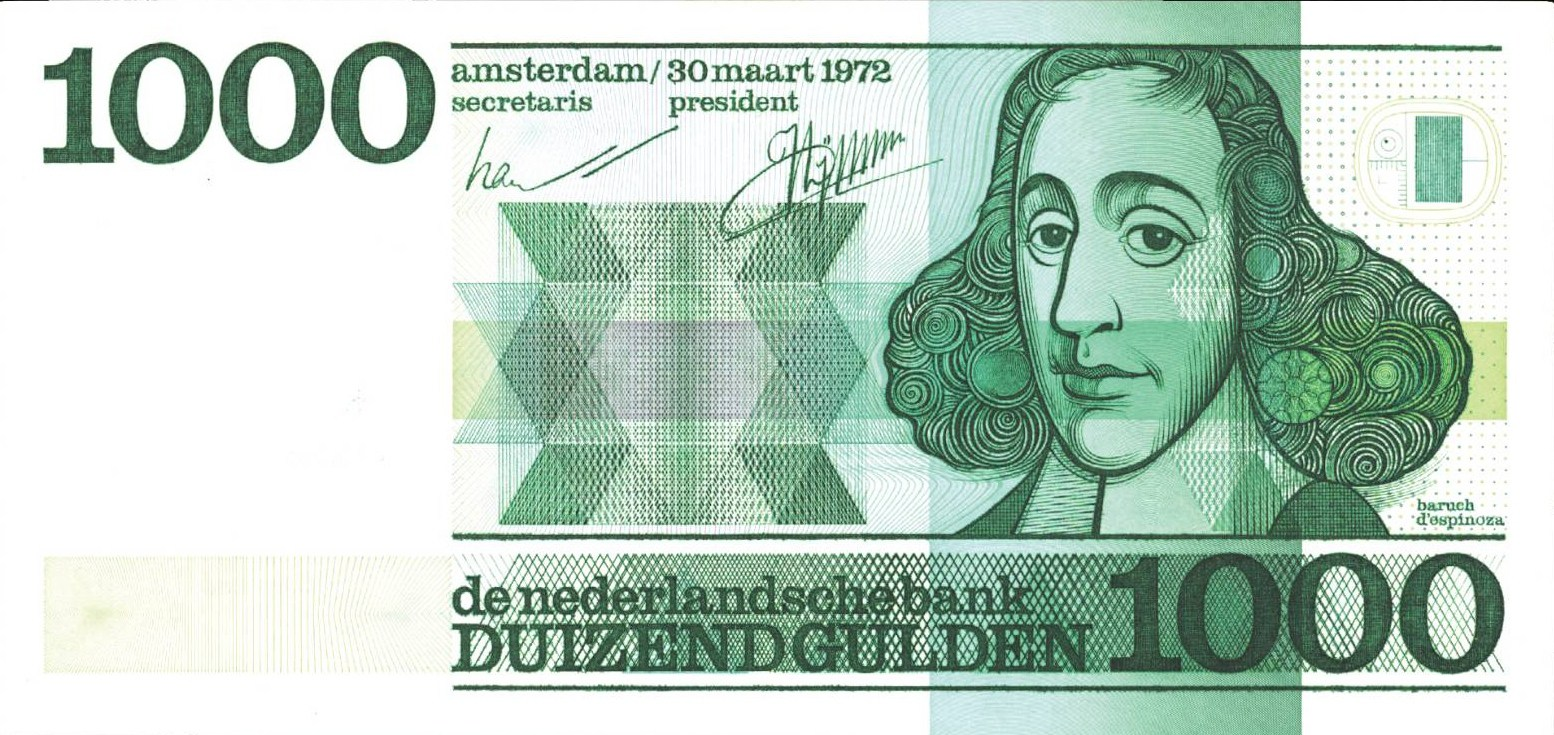 Baruch Spinoza used to be on the 1000 Dutch guilders note
