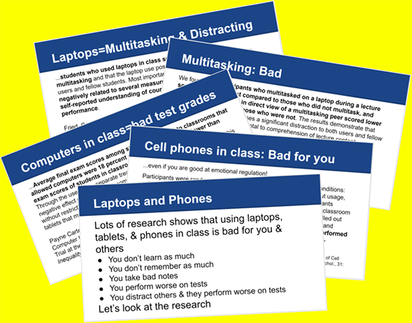 Why To Discourage Laptops in Class (with slides you can show your students)