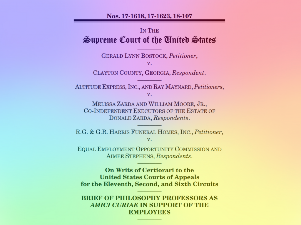 Philosophers File Amicus Brief on LGBT Discrimination Cases