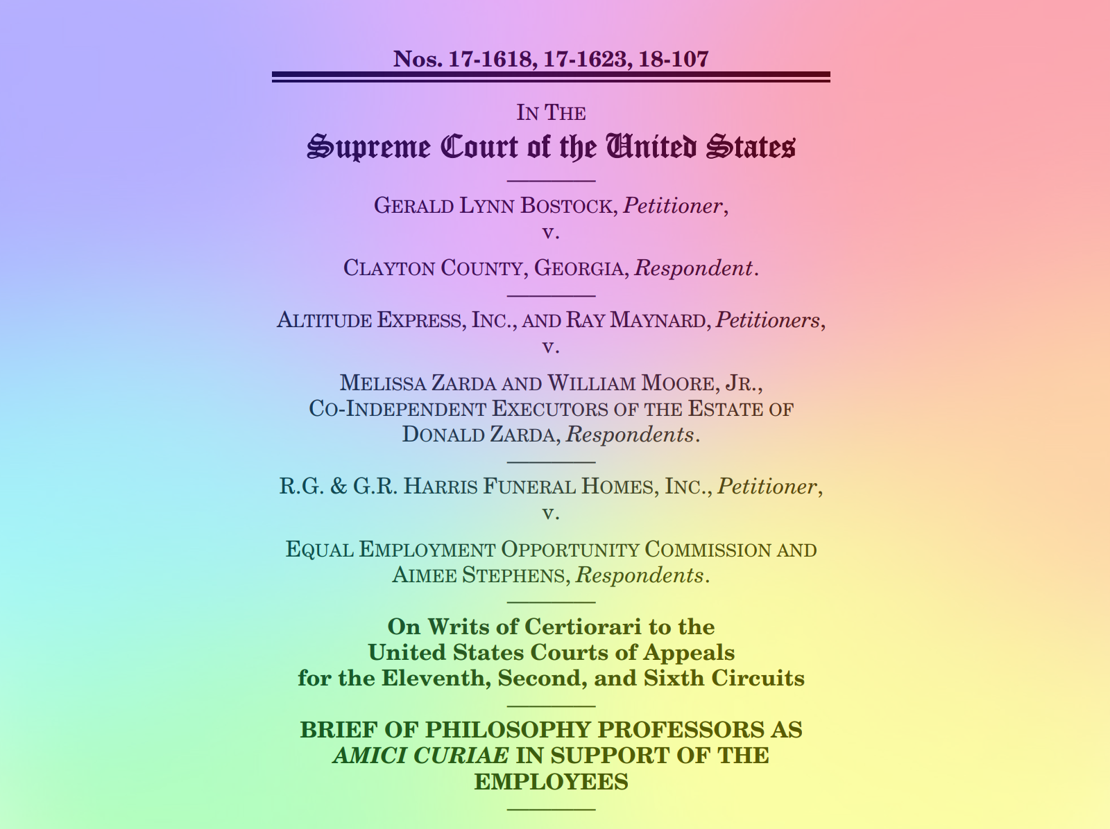 Philosophers File Amicus Brief on LGBT Discrimination Cases